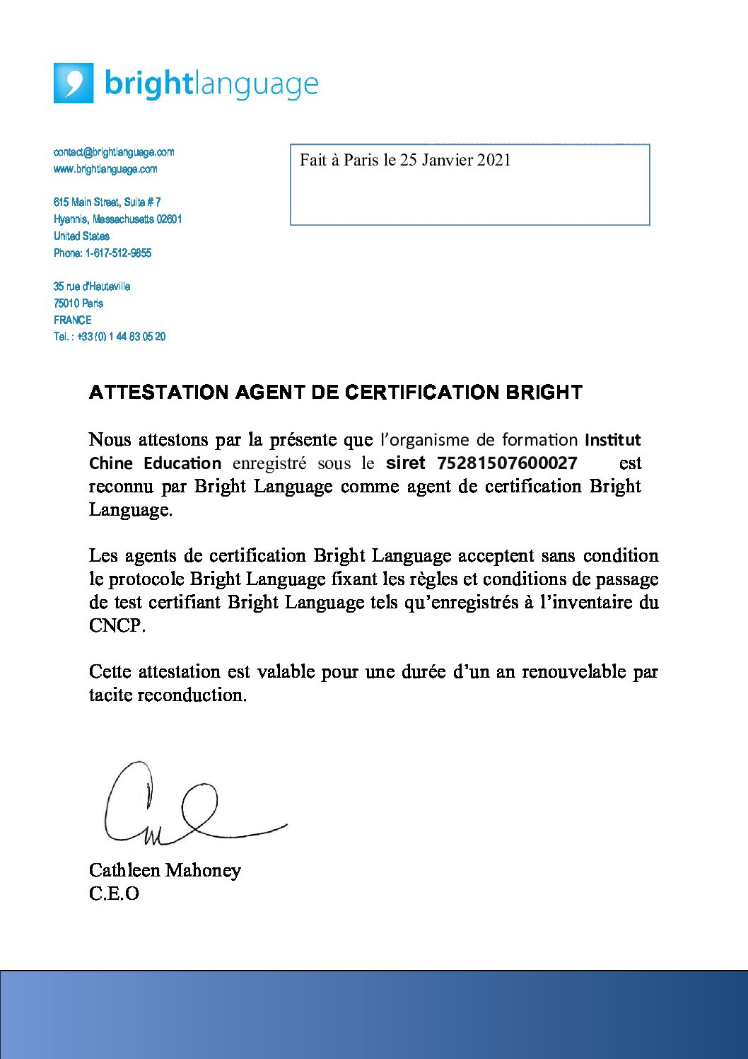 Attestation Institut Chine Education (1)
